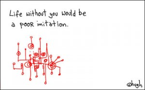 "gapingvoid cartoon – ""poor imitation"""