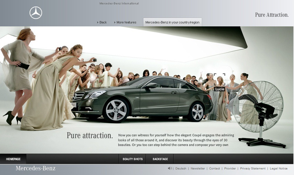 New mercedes benz e class ad and website beauty chris for Mercedes benz new advert